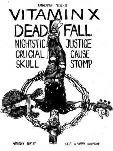 Afiche para Vitamin X, Deadfall, Nightstick Justice, Crucual Cause, Skull Stomp, 27 de Setiembre 2008
