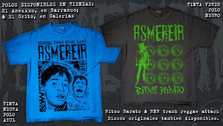 Polos RNR thrash reggae azul y negro, Ritmo Barato negro y verde.