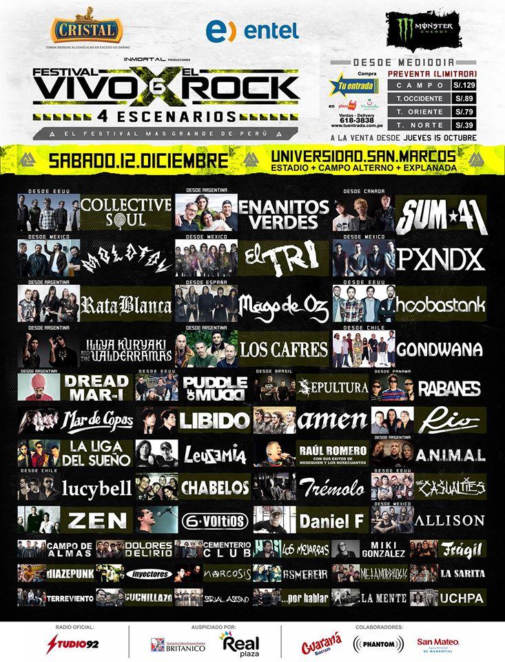 Próxima tocada: Universidad San Marcos - Festival Vivo X el Rock 6 ...