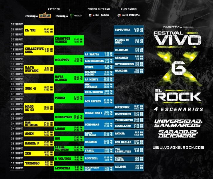 Horarios Vivo X el Rock 6