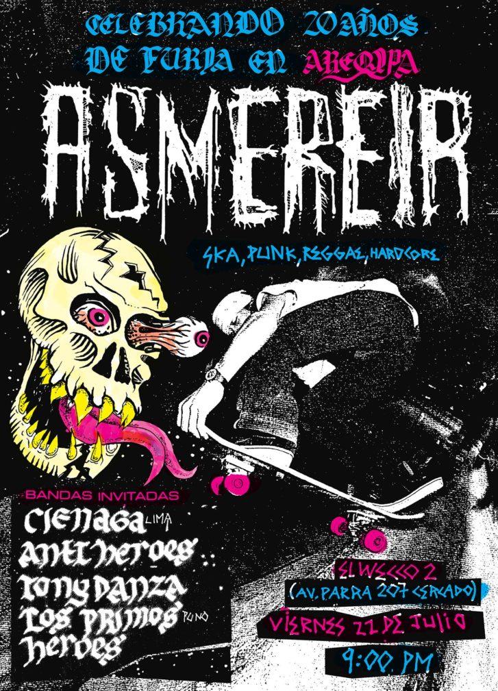 afiche arequipa asmereir julio 2016 punk ska hardcore reggae